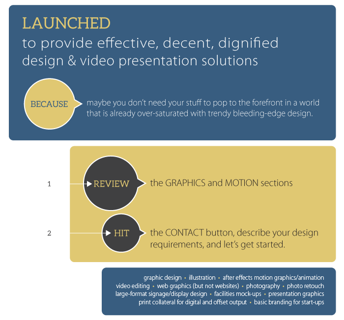 KOZMOGRAF/X was launched to provide effective, decent, dignified design & video presentation solutions... because maybe you don't need your stuff to pop to the forefront in a world that is already over-saturated with trendy bleeding edge design.